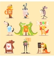 Cute Animals Cartoon Flat Design vector image