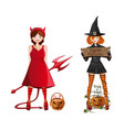 cute girls in fancy dress for halloween vector image vector image