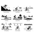 cyclist cycling and riding bicycle in different vector image