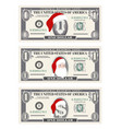 design template one dollar banknotes with santa vector image vector image