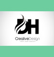 dh d h creative brush black letters design vector image vector image