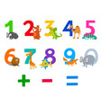 educational numbers set with animals vector image