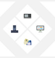flat icon laptop set of vintage hardware computer vector image vector image