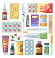 flat pills medicine cartoon drugs tablets and vector image vector image