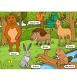 Forest cartoon animals with names vector image