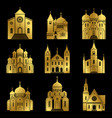 gold christian church icons on black background vector image