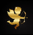 golden valentine cupid silhouette isolated on vector image