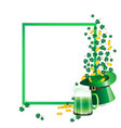 green beer and hat and coin vector image vector image