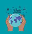 hand holding world planet social media vector image vector image