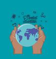 hand holding world planet social media vector image