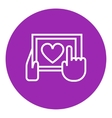 Hands holding tablet with heart sign line icon vector image vector image