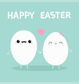 happy easter egg couple family kawaii facecute vector image vector image