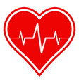 icon health sign heart with heartbeat vector image vector image