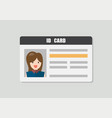 id card with female photo vector image