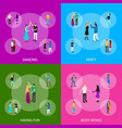 isometric dancing people characters banner set vector image vector image