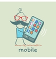 man holding a mobile that rings vector image vector image
