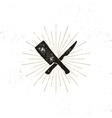 Meat cleaver and knife symbols Vintage steak house vector image