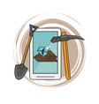 mining from smartphone and tools vector image