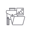 office tools line icon concept office tools vector image vector image