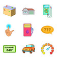 petrol station icons set cartoon style vector image vector image