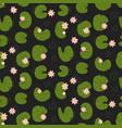 pink lotuses in dark pond top view seamless vector image vector image