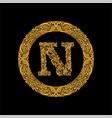 premium elegant capital letter n in a round frame vector image vector image