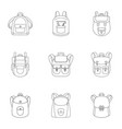 preschool backpack icon set outline style vector image vector image