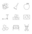 primary school icons set outline style vector image