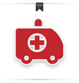 red icon shows an ambulance vector image