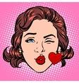 Retro Emoji love kiss heart woman face vector image vector image