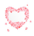 rose petals heart for valentines day vector image vector image