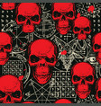 seamless pattern red skulls and occult symbols vector image