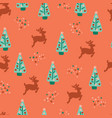 seamless repeat christmas trees reindeer pattern vector image