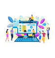 search tiny people characters at huge laptop vector image
