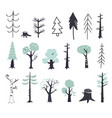 set children s drawings - cute forest vector image vector image