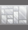 set isolated glass plate on transparent vector image vector image