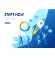 set landing page template people develop business vector image vector image