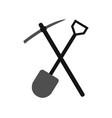 shovel icon with pickaxe vector image