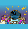 spacesuit astronaut hello gesture vector image vector image
