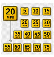 speed limit sign set isolated transparent vector image vector image