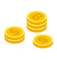 stacks coins electronic money golden bitcoins vector image