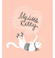Stylish card with cute white cat and stylish vector image vector image