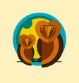 two owls logo sitting on a branch of the flat icon vector image vector image