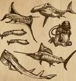 Underwater Sea Life set no3 - hand drawn vector image