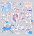 unicorn multicolor stickers with unicorns vector image vector image