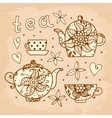 Vintage card Tea set of elements for design vector image