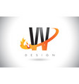 vv v letter logo with fire flames design and vector image