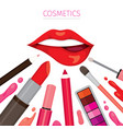 woman lip with lipsticks set vector image vector image