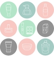 Women cosmetic object isolated color icons vector image