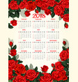 year calendar template with red rose flower frame vector image